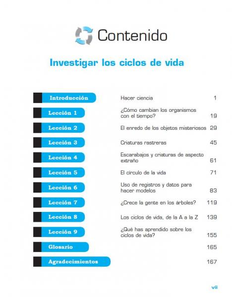 Investigating Life Cycles Spanish TOC page vii.JPG